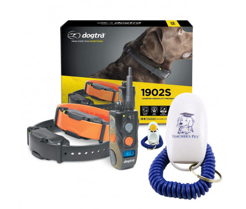 Dogtra 1902S Ergonomic 3/4-Mile IPX9K Waterproof High-Output 2-Dog Remote Dog Training E-Collar with Teacher's Pet Dog Training Clicker for Positive Reinforcement