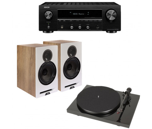 ELAC Debut Reference 2.0 Bookshelf Speakers with Denon DRA-800H 2-Channel Stereo Receiver and Pro-Ject Debut Carbon DC Turntable