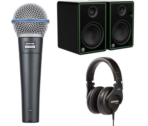 Shure + Mackie Bundle - SRH440 Professional Studio Headphones + Mackie CR Series Studio Monitor (CR5-X) + BETA 58A Dynamic Vocal Microphone