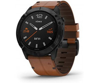 Garmin Fenix 6X Sapphire, Black DLC with Chestnut Leather Band