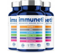 Immuneti - Advanced Immune Defense, 6-in-1 Powerful Blend of Vitamin C, Vitamin D3, Zinc, Elderberries, Garlic Bulb, Echinacea - Supports Overall Health, Provides Vital Nutrients & Antioxidants - 3 Pack