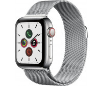 Apple - Watch Series 5 GPS + Cellular, 40mm Stainless Steel Case with Stainless Steel Milanese Loop