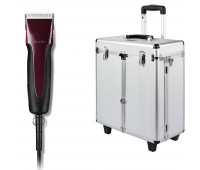 Andis Excel Pro-Animal 5-Speed Detachable Blade Clipper Kit - Professional Pet Grooming, Burgundy, SMC (65360) + Andis Aluminum Grooming Case with Wheels