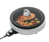 Aroma 3 Quart 3-in-1 Grillet Circular Design with White Cool Touch Housing
