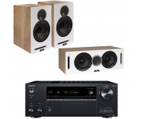ELAC Debut Reference 3.0 Channel ELAC Home Theater System Bundle With DBR62 Bookshelf Speakers and Onkyo TX-NR696- White/Oak