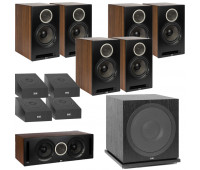 ELAC Debut Reference DB62 11.1 Channel Bookshelf Dolby Atmos Surround Sound Home Theater System with DA4.2 Atmos Speakers and Subwoofer SUB3030 - Black/Walnut
