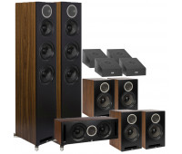 ELAC Debut Reference 11.0 Channel Home Theater System Bundle DFR52 Floorstanding Speaker - Pair - Black/Walnut With DCR52 Center Channel + 4 DBR62 Bookshelf/Surrounds + 4 A4.2 Atmos Speakers- Black/Walnut