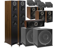 ELAC Debut Reference 11.2 Dolby Atmos Home Theater System Bundle With DFR52 - Pair + DCR52-BK + 4 DBR62 Bookshelf/Surrounds + 2 SUB3010 Sub + 4 A4.2 Atmos Speakers - Black/Walnut