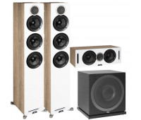 ELAC Debut Reference 3.1 Channel Home Theater System Bundle - DFR52 Floorstanding Speakers - Pair - White/Oak with DCR52-BK and ELAC Subwoofer SUB3010