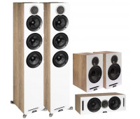 Debut Reference 5 Channel ELAC Home Theater System Bundle - DFR52 Floorstanding Speakers - Pair + DCR52-BK + DBR62-BK-Pair - White/Oak