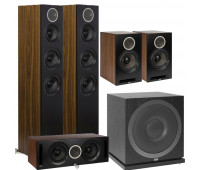 ELAC 5.1 Channel Debut Reference DFR52 Floorstanding Speaker System - Black/Walnut 5.1 with DCR52-BK + DBR62-BK Pair and ELAC Subwoofer SUB3010
