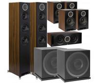 ELAC Debut Reference DFR52 Floorstanding Speaker - Pair - Black/Walnut 7.2 Channel Home Theater Bundle With DCR52 + 4 DBR62 Bookshelf/Surrounds + 2 ELAC Subwoofer SUB3010