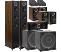 ELAC Debut Reference 9.2 Dolby Atmos Home Theater System Bundle With DFR52 - Pair + DCR52-BK + 4 DBR62 Bookshelf/Surrounds + 2 SUB3010 Sub + 2 A4.2 Atmos Speakers - Black/Walnut