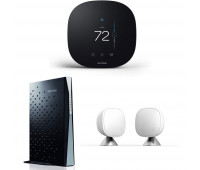 ecobee3 lite Smart Thermostat, 2nd Gen, Black + TP-LINK Archer CR700 AC1750 Wireless Dual Band 16x4 DOCSIS 3.0 Cable Modem Router + ecobee Room Sensor 2 Pack with Stands