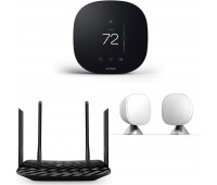 ecobee3 lite Smart Thermostat, 2nd Gen, Black + TP-Link Deco Whole Home Mesh WiFi System + ecobee Room Sensor 2 Pack with Stands
