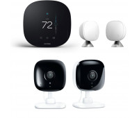 ecobee3 lite Smart Thermostat Bundle with 2 Kasa Spot - 1080p full-HD indoor security cameras + ecobee Room Sensor 2 Pack with Stands