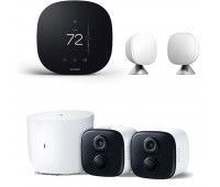 ecobee3 lite Smart Thermostat Bundle with Kasa Spot Wire-free Camera System + ecobee Room Sensor 2 Pack with Stands