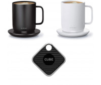 Ember + Cube Bundle - Temp Control Smart Mug 2 - 10 oz Black and White Bundle with Cube Smart Tracker