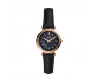 Fossil Women's Carlie Mini Three-Hand Black Leather Watch