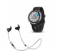 Garmin Forerunner 645 Music - Black with Stainless Hardware with JBL Reflect Mini 2 Wireless in-Ear Sport Bluetooth Headphones