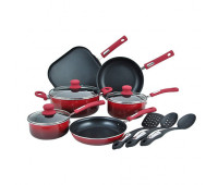 Hamilton Beach - 12pc Nonstick Aluminum Cookware Set Red