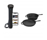 Lodge Bundle With 3.2 Quart Cast Iron Combo Cooker  + Anova Culinary Sous Vide Precision Cooker Nano