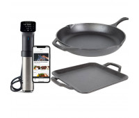 Lodge Bundle With Chef Collection 12 Inch Cast Iron Skillet  + Lodge Chef Collection 11 Inch Cast Iron Square Griddle  + Anova Culinary Sous Vide Precision Cooker Pro (WiFi)
