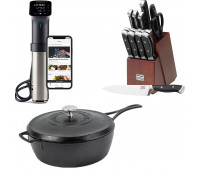 Lodge Bundle With Blacklock 49 4 Quart Deep Skillet With Lid  + Anova Culinary Sous Vide Precision Cooker Pro (WiFi)  + Chicago Cutlery Armitage 16-piece Block Set