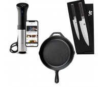 Lodge Bundle With 12 Inch Cast Iron Skillet  + Anova Culinary AN500-US00 Sous Vide Precision Cooker (WiFi) + Shun Classic 2 Pc Starter Set