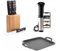 Lodge Bundle With Chef Collection 11 Inch Cast Iron Square Griddle  + Anova Culinary AN500-US00 Sous Vide Precision Cooker (WiFi) + Wusthof Gourmet 7-Piece Steak-Knife Set with Wooden Block