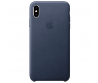 Apple - iPhoneᆴ XS Max Leather Case - Midnight Blue