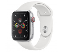 Apple - Watch Series 5 GPS + Cellular, 44mm Silver Aluminum Case with White Sport Band