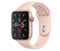 Apple - Watch Series 5 GPS + Cellular, 44mm Gold Aluminum Case with Pink Sand Sport Band