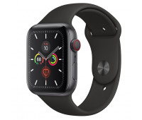 Apple - Watch Series 5 GPS + Cellular, 44mm Space Gray Aluminum Case with Black Sport Band