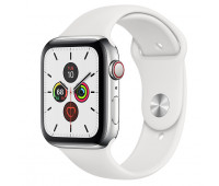 Apple - Watch Series 5 GPS + Cellular, 44mm Stainless Steel Case with White Sport Band