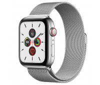Apple - Watch Series 5 GPS + Cellular, 44mm Stainless Steel Case with Stainless Steel Milanese Loop