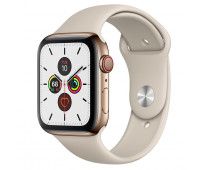 Apple - Watch Series 5 GPS + Cellular, 44mm Gold Stainless Steel Case with Stone Sport Band