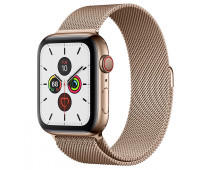 Apple - Watch Series 5 GPS + Cellular, 44mm Gold Stainless Steel Case with Gold Milanese Loop