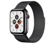 Apple - Watch Series 5 GPS + Cellular, 44mm Space Black Stainless Steel Case with Space Black Milanese Loop