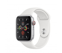 Apple - Watch Series 5 GPS + Cellular, 40mm Silver Aluminum Case with White Sport Band