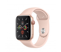 Apple - Watch Series 5 GPS + Cellular, 40mm Gold Aluminum Case with Pink Sand Sport Band