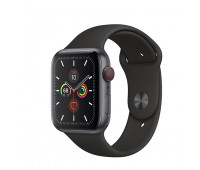 Apple - Watch Series 5 GPS + Cellular, 40mm Space Gray Aluminum Case with Black Sport Band