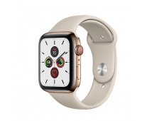 Apple - Watch Series 5 GPS + Cellular, 40mm Gold Stainless Steel Case with Stone Sport Band