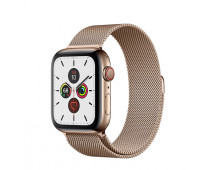 Apple - Watch Series 5 GPS + Cellular, 40mm Gold Stainless Steel Case with Gold Milanese Loop