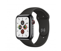 Apple - Watch Series 5 GPS + Cellular, 40mm Space Black Stainless Steel Case with Black Sport Band