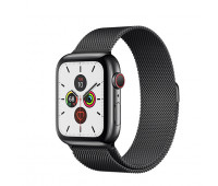 Apple - Watch Series 5 GPS + Cellular, 40mm Space Black Stainless Steel Case with Space Black Milanese Loop