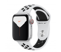Apple - Watch Nike Series 5 GPS + Cellular, 40mm Silver Aluminum Case with Pure Platinum/Black Nike Sport Band