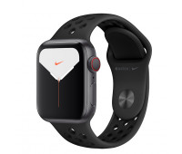 Apple - Watch Nike Series 5 GPS + Cellular, 40mm Space Gray Aluminum Case with Anthracite/Black Nike Sport Band