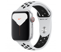 Apple - Watch Nike Series 5 GPS + Cellular, 44mm Silver Aluminium Case with Pure Platinum/Black Nike Sport Band