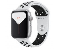 Apple - Watch Nike Series 5 GPS, 44mm Silver Aluminum Case with Pure Platinum/Black Nike Sport Band
